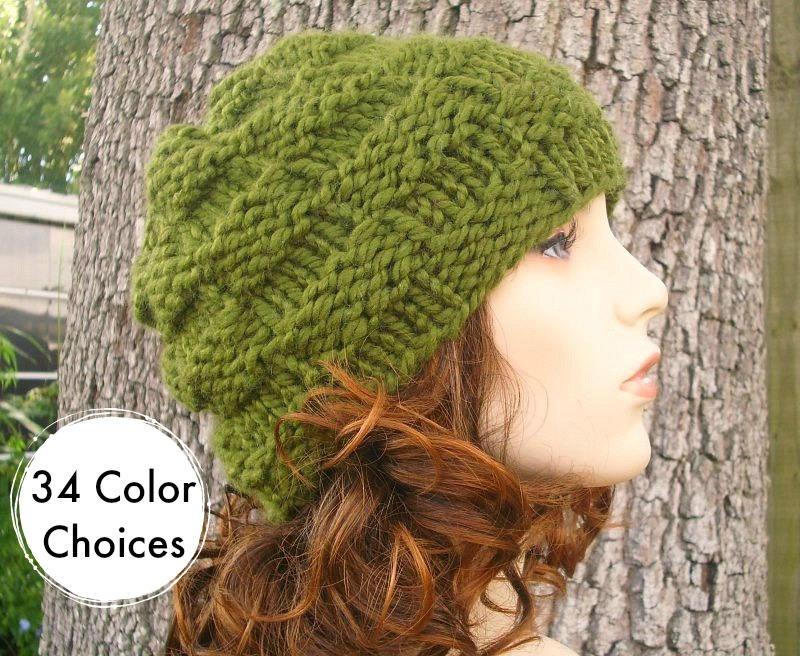 Knit Hat Womens Hat Basket Weave Beanie in Olive Green Knit  b66229d11a4