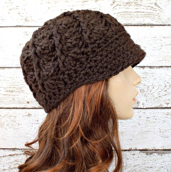 Crochet Hat Womens Hat Brown Newsboy Hat - Pippa Swirl Beanie in Coffee Brown Crochet Hat - Brown Hat Brown Beanie Womens Accessories