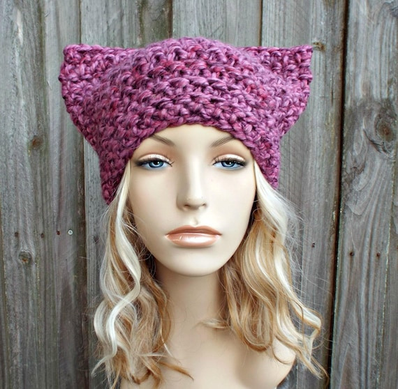 Pink Cat Hat - Thermal Crochet Womens Winter Beanie in Strawberry Mixed Pink - Pink Pussyhat Project Pink Pussy Hat