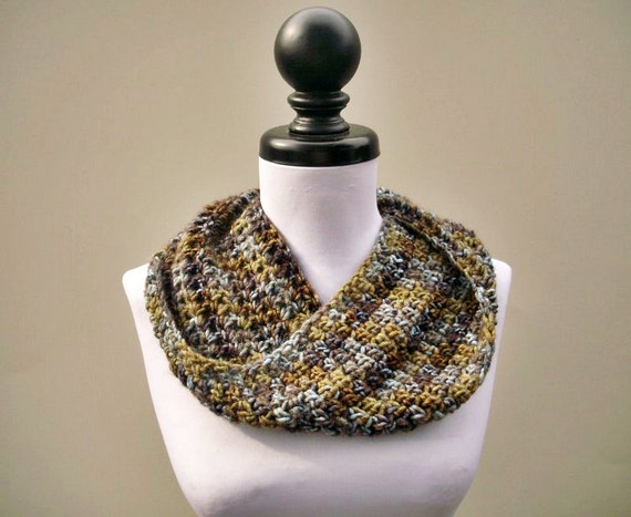 Crocheted Cowl Scarf - Hamptons Mobius Cowl Scarf in Blue Bayou - Blue Cowl Blue Scarf Taupe Cowl Taupe Scarf Womens Accessories