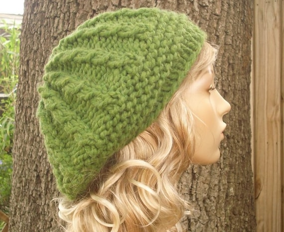 Chunky Knit Hat Womens Hat - Green Cable Beret Hat - Grass Green Knit Hat - Green Hat Green Beret Green Beanie