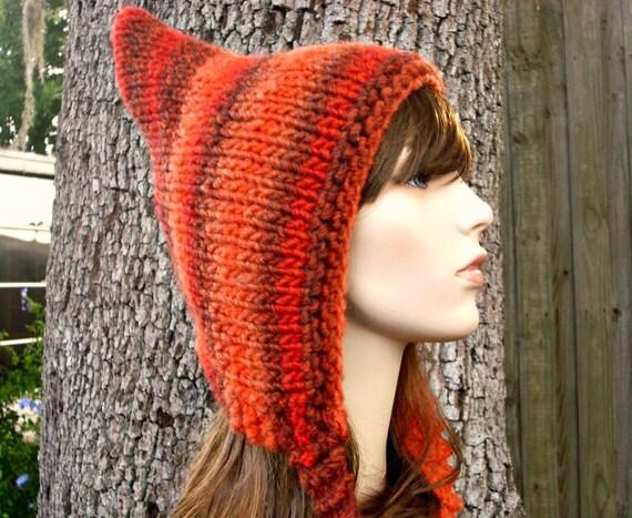 Knit Hat Womens Hat - Orange Pixie Hat in Sunset Orange Knit Hat - Orange Hat Chunky Knit Hat Womens Accessories Fall Fashion Winter Hat