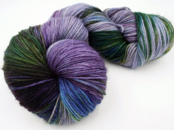 Hand Dyed Yarn Hand Dyed Sock Yarn Superwash Merino Nylon Blend 80/20 Fingering Weight Yarn - Purple Yarn Green Yarn - Scottish Thistle