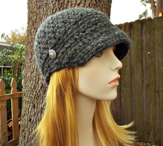 Crochet Hat Grey Womens Hat Grey Newsboy Hat - Sylvie Newsboy Cap in Granite Grey - Grey Beanie Grey Hat - Womens Accessories