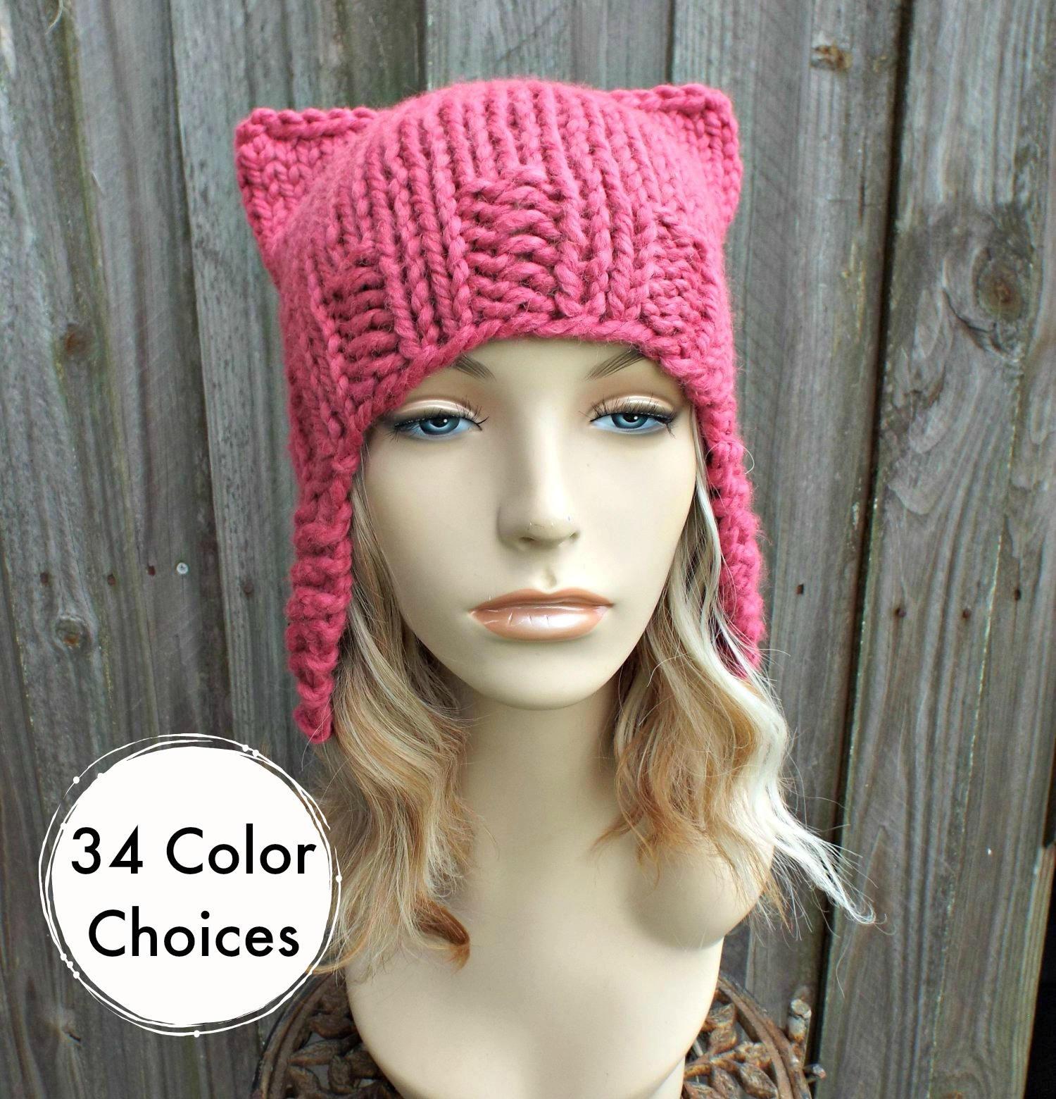 Pink Pussyhat Pink Cat Hat Womens Hat Raspberry Pink Ear