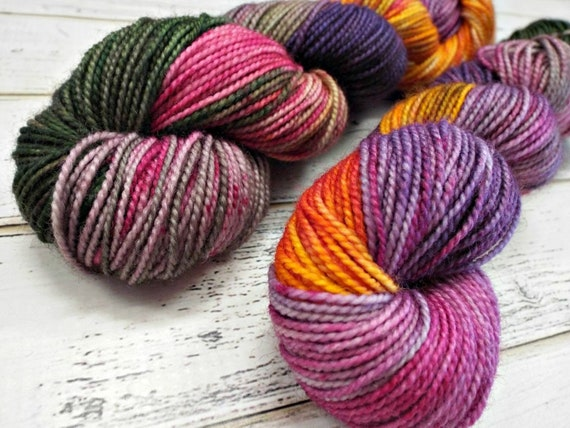 Hand Dyed Sock Yarn Superwash Wool Nylon 80/20 Fingering Weight Yarn Sock Yarn 50 Grams - Purple Yarn Pink Yarn - Mardi Gras Hangover