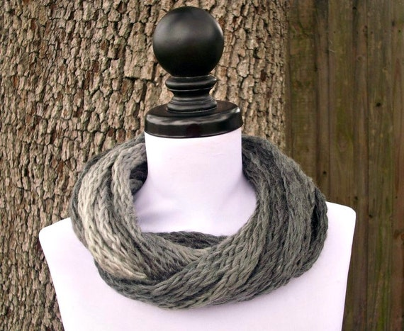 Circle Scarf Infinity Scarf Knit Cowl - Infinity Cowl Charcoal Grey Cream Grey Scarf Grey Cowl Womens Accessories - READY TO SHIP