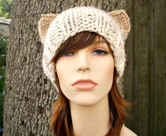 Knit Hat Womens Hat - Cat Beanie Hat in Neutral Ombre Knit Hat - Womens Accessories Winter Hat