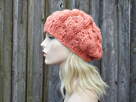 2324635b9e1 Womens Chunky Knit Hat Orange Clay Cable Beret Clay Hat