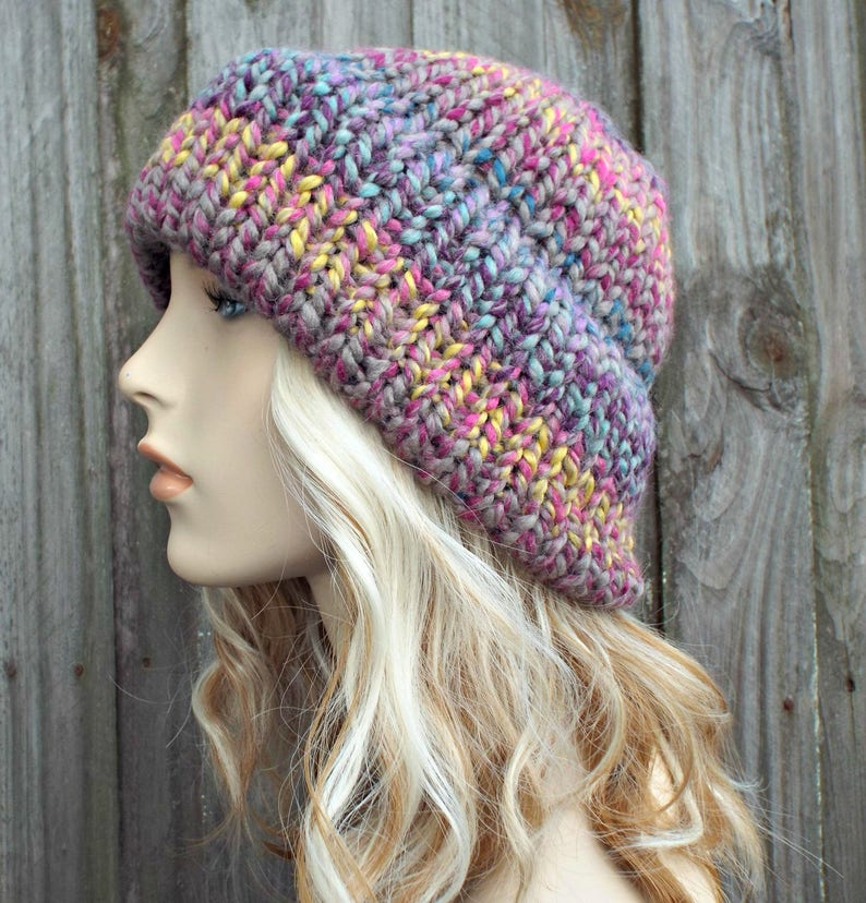 bd92edd3baa Mixed Color Womens Double Thick Brim Knit Hat Warm Thick