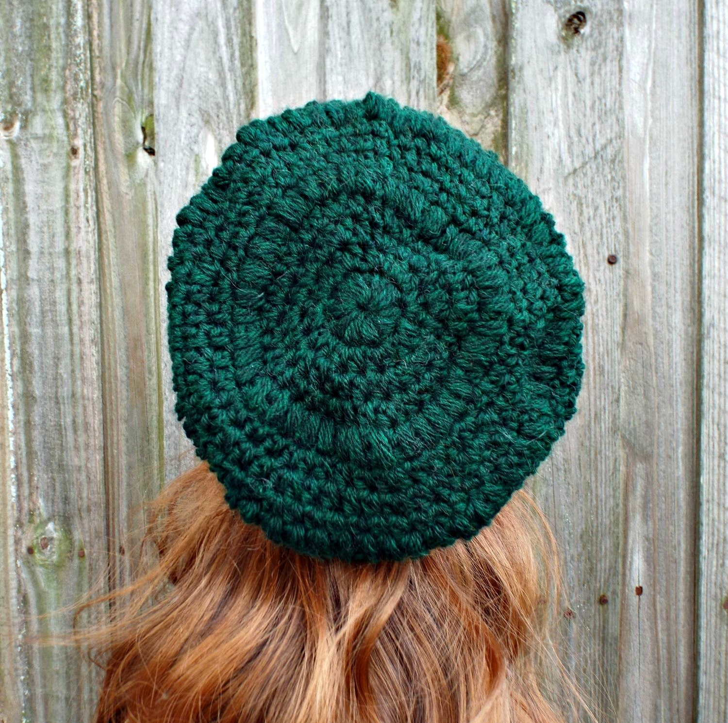 c884d3f3d58906 Hunter Green Crochet Hat Womens Hat - Penelope Puff Stitch Slouchy ...