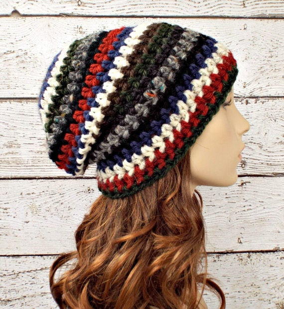 Crochet Hat Womens Hat - One of a Kind Remnant Slouchy Striped Beanie Hat Crochet Hat Winter Accessories - READY TO SHIP