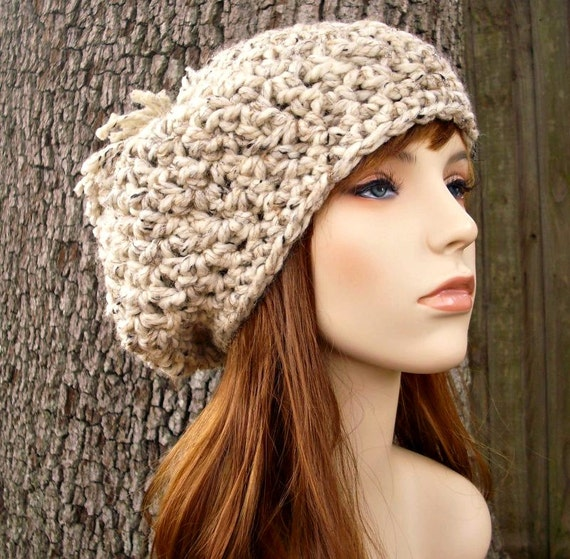 Oatmeal Slouchy Hat Crochet Hat Womens Hat - Oatmeal Pom Pom Beret - Oatmeal Hat Oatmeal Beanie Womens Accessories - READY TO SHIP
