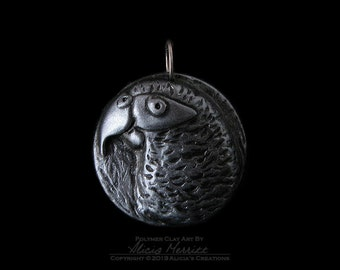 Unique African Grey Gray Parrot Exotic Bird in Antique Pewter Silver Finish Clay Art Medallion Pendant (no chain or cord)