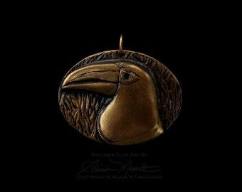 Unique Aracari Toucan Medallion in Antique Gold Finish Clay Bird Art Pendant (no chain or cord)