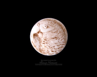 Unique Faux Ivory African Grey Gray Parrot in Earth Tones Clay Bird Art Magnet