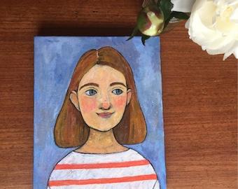 """Original portrait Painting 8""""x10"""" woman art"""