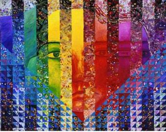 Mixed Media: Conundrum I - Rainbow Woman - ACEO, Art Card