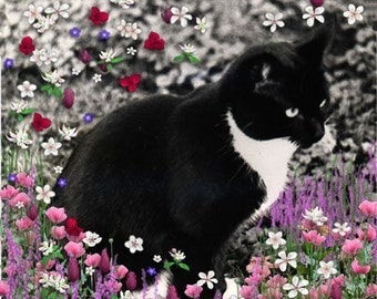 Painting (Digital Collage) - Freckles in Flowers II - Art Card, ACEO