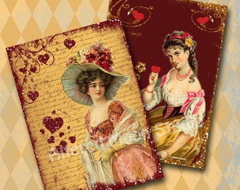 Gold and Red Valentine Collage Sheet 8