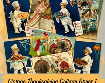 Vintage Thanksgiving  Collage Sheet 1
