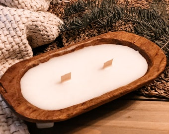 Wooden Dough Bowl Vegan Wax Candle - Hand Poured - Scented Driftwood Juniper - Fresh & Clean Scent