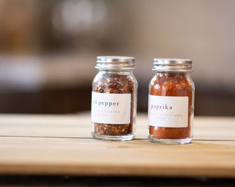 Spice Jar Labels • Rectangle • Custom Sizes • Water & Oil Durable