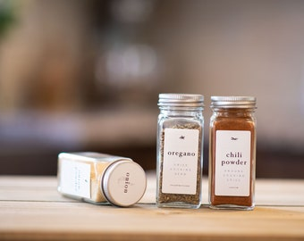 Spice Jar Labels • Rectangle Side + Circle Top • Custom Sizes • Water & Oil Durable