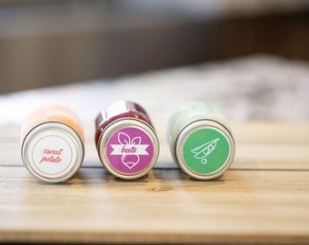 Baby Food Jar Labels • Circle • Custom Sizes • Water & Oil Durable