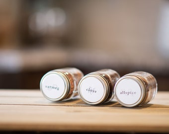 Spice Jar Labels • Circle • Custom Sizes • Water & Oil Durable