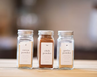Spice Jar Labels • Rectangle or Square • Custom Sizes • Water & Oil Durable