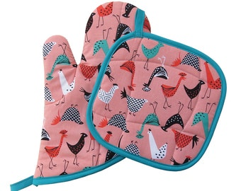 Chickens Oven Mitt and Pot Holder Set
