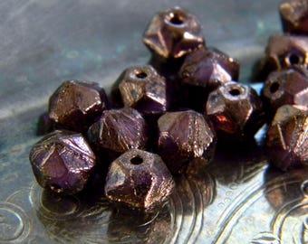 Mulberry Magic (20) -Czech Glass English Cut Rounds 8mm