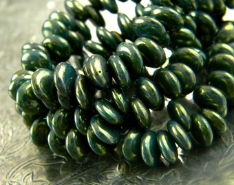 Gilded Spruce (25) -Czech Glass Mini Lentils 6mm