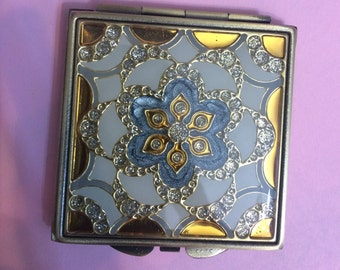 Vintage Art Deco Blue Gold or Black Gold Filligree w/ Crystals Square Mirror Compact