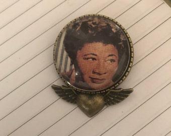 Retro Ella Fitzgerald Jazz Heart Angel Wings Brooch Pin Pendant Necklace