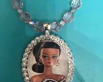 Retro 1950s Black Bronzina  Barbie in Zebra Crystal Border Pendant Pink Crystals Necklace