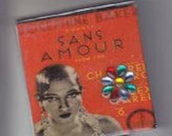 Josephine Baker Sans Amour Square Compact Mirror w/ Crystal Navette Flower!