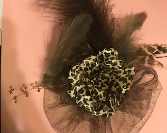 Brown Leopard Satin Flower Tulle w/ Feathers & Gold Bead Stamen Fascinator Anywhere Clip