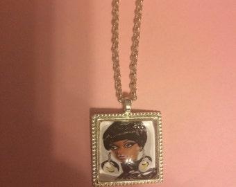 Retro Mod Black Barbie Small Square Silver Filigree Pendant Necklace