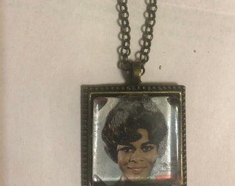 Retro Cicely Tyson Small Square Pendant Necklace w/ Vintage Finish
