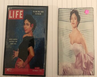 Two (2) Retro Dorothy Dandridge Life Magazine & Pink Carmen Glamour Magnets -- for fridge and other metal surfaces!