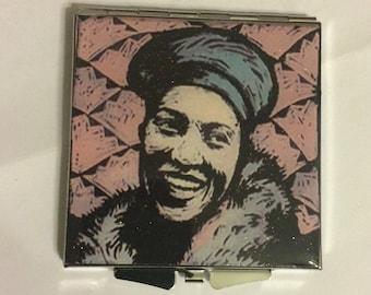 Retro Zora Neale Hurston Square Silver Pill box Mint box or Mirror Compact
