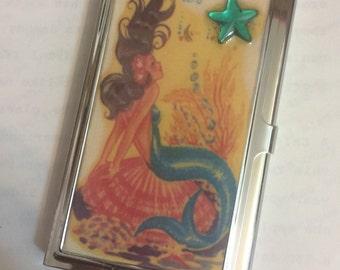 Retro Mod Mermaid Business Card Holder Credit Card Case