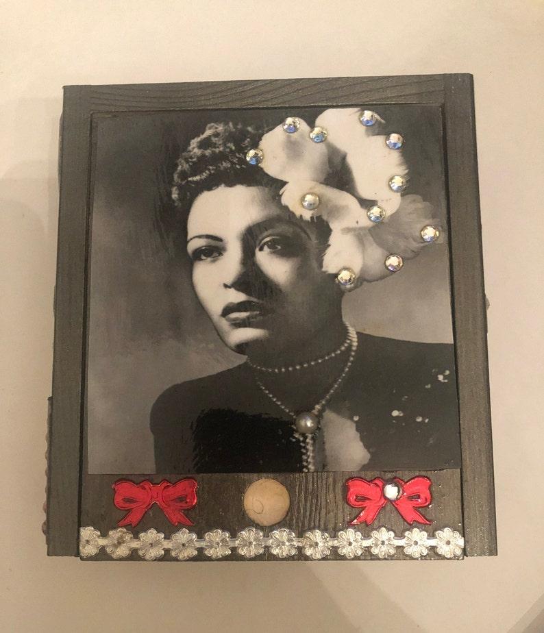 Retro Billie Holiday Gardenia Antique Gray Wood Jewelry Box image 0