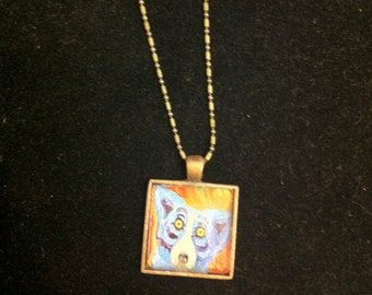 Retro Blue Pooch Small Square Pendant Necklace with Vintage Finish