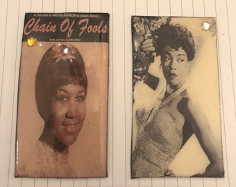 Two (2) Retro Aretha Franklin & Sarah Vaughan Magnets -- for fridge and other metal surfaces!