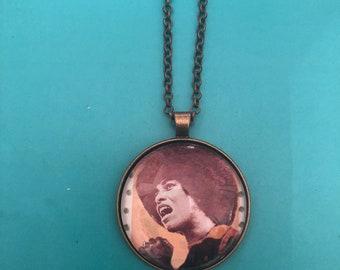 Retro Black Power Angela Davis Large Round Vintage finish Pendant Necklace