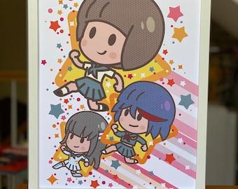 Mako + Ryuko + Satsuki Running with stars (Large print)