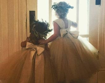 Flower Girl, Tutu Dress, Bow dress, Wedding Dress, Champagne Flower Girl Dress, Adjustable dress, formal dress, girls dress, no alterations